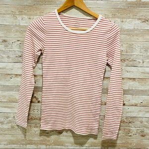 J.Crew Red/White 'Perfect Fit' Long Sleeve Top